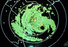 Radar image of center of Hurricane Hugo as observed by Charleston, SouthCarolina Weather Service Forecast Office.