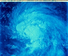 Satellite view of a tropical storm in the Caribbean area