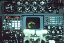 Cockpit radar display showing proximity to hurricane center.