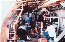 Preparing interior of P-3 with electronic systems.