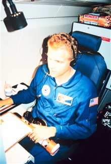 AOC Electronics Technician Chris Hornbrook flying on NOAA 49, the Gulfstream IV.
