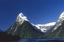 Glaciers and fjords on the southwest coast of New Zealand.