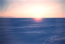 A winter sunset over the North Slope - note the parallel ridges in the snow.They always lay ENE-WSW in this area. The orientation of the ridgeswas used to navigate away from camp.