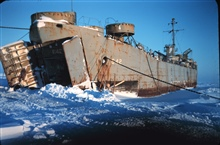 A Navy landing ship used for supplies - frozen in to the Arctic Ocean in 1948