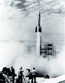 A V-2 missile being launched - these missiles were used for early upperatmosphere studies.