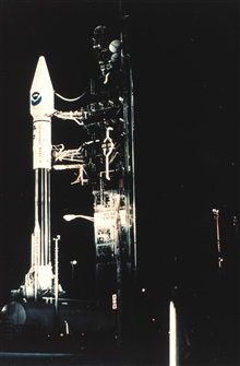 NOAA satellite GOES-J mounted on an Atlas Centaur rocket ready for launch.Satellite was launched on May 23, 1995 and became GOES-9 when operational.