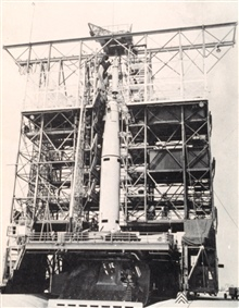 Second stage of Thor-Able rocket being set in place prior to launching TIROS I.In: Weather Analysis from Satellite Observations,   U.S. Navy ResearchFacility, December 1960.  Figure 1.2.