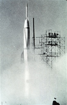 Bumper No. 8, a captured German V-2 rocket, lifts off from Cape Canaveral.  Thisrocket exploded in flight, but was the first to lift off from a launch pad atCape Canaveral.
