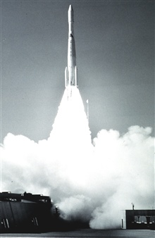 ESSA 6 lifts off.  Launch Vehicle was Delta 54.