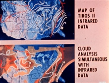Map of TIROS II infrared imagery with accompanying cloud analysis.  TIROS II wasthe first meteorological satellite to carry infra-red remote sensing instruments