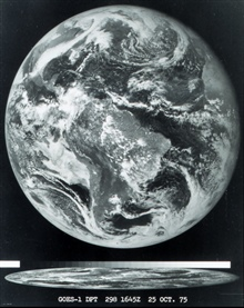 The first image obtained from a GOES satellite.  These satellites are put ingeostationary orbit over 22, 000 miles from Earth and continuously monitor asignificant portion of a hemisphere of the Earth.