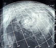 TIROS I  image showing cyclone centered at 17W, 45 S in South Atlantic.Monthly Weather Review, July 1961, p. 235.