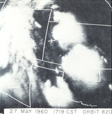 Experience with TIROS showed that bright clouds with relatively well-definededges and isolated from a main cloud mass, could be indicators of severe weatherShortly after this photograph, the southernmost cloud spawned a tornado.TIROS I, orbit 820.