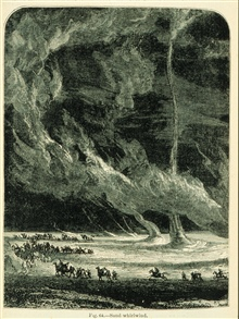 ... gigantic whirlwinds of sand which rise from the earth to the clouds...In:  The Atmosphere translated by James Glaisher, 1873.From the work of Camille Flammarion.Figure 64, p. 348.