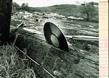The awesome power of a tornado demonstratedA 33rpm plastic record blown into a telephone pole