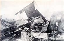 Tornado damage at Terre Haute.As seen in:  Our National Calamity of Fire, Flood, and Tornadoby Logan Marshall, 1913.  L. T. Myers publisher.