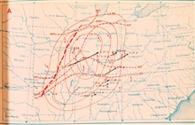 Map showing weather situation and storm track of Tri-State Tornado.  Black lineis tornado track.  The Tri-State Tornado was the longest-lived and had thelongest path of any recorded tornado. It traveled over300 miles from SE Missouri to Indiana and k