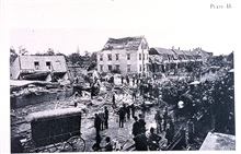 Damage to the downtown area of Lawrence.  8 were killed and 52 injuredin this rare New England tornado.  The speed of advance of the storm associatedwith the tornado was approximately 50 miles per hour.  In:  The LawrenceTornado of July 26, 1890 by W