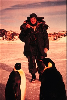 Vice-Admiral H. Arnold Karo with penguins.