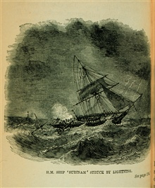 H.M. Ship SURINAM struck by lightning.Lightning struck the mainmast and split it in piecesTwo men were killed and four injured.The ship was in grave danger of drifting onto a lee shoreIn: The Thunder-Storm, Charles Thomlinson, F.R.S., 1877, p. 174