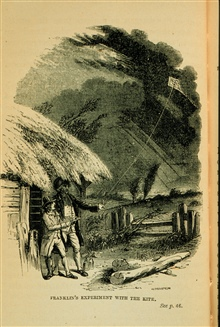 Benjamin Franklin's experiment with the kite..when the string was thoroughly wet, abundance of electricity was procured...In:  The Thunder-storm by Charles Thomlinson, F.R.S., 1877, p. 30.