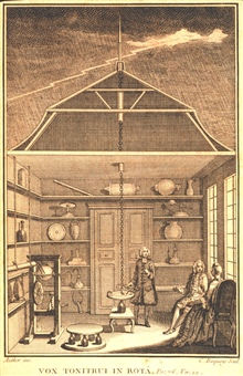Enlightenment gentlemen and lady studying lightning in their living room.Such an activity could lead to a shocking revelation.  Do not try this in yourown home.  Frontispiece to La Nature Dans La Formation Du Tonnerre, Et LaReproduction Des Etres Viv