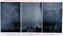 Figure 12.  Cloud and multiple flash.  Figure 13.  Destructive Flash.  Figure 14.  Multiple Flash.  In:  Protection from Lightning, by Alexander McAdie.Weather Bureau Circular of Information, published in 1894.Library Call Number TH 9057.M3 1894.