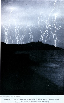 When 'the heavens balance their volt accounts'.  A thunderstorm overLake Balaton.  In: The Realm of the Air by Charles F. Talman, 1931.Library Call Number M/0030 T151r.