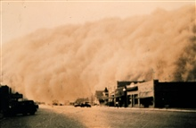 Dust storm approaching Stratford, Texas.Dust bowl surveying in Texas