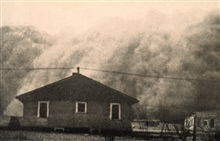 An approaching dust storm somewhere in Kansas, 1935.In:  Effect of Dust Storms on Health,  U. S. Public Health Service, ReprintNo,. 1707 from the Public Health Reports, Vol. 50, no. 40, October 4, 1935.
