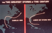 Tracks of Camille and the Labor Day Storm of 1935.The two deadliest hurricanes of the Twentieth Century to strike theUnited States.