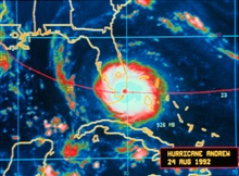 Hurricane Andrew - infrared image taken by GOES 7Andrew is crossing the Florida coast and making landfallAugust 24, 1992, at Dade County, Florida