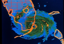 Hurricane Andrew - WSI radar composite of Andrew making landfallAugust 24, 1992, at Dade County, Florida