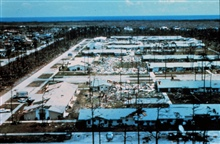 Hurricane Andrew -  A section of Pinewoods VillaNote uneven damage pattern
