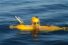 Delta submersible seen on surface in waters off Santa Cruz Island