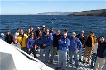 Dan Basta, head of the National Marine Sanctuaries program, leading a group ofscientists, educators, and science administrators on a tour of the ChannelIslands National Marine Sanctuary on board the vessel SHEARWATER.