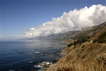 Looking north along the Big Sur coastline as orographic clouds form over SantaLucia Mountains.