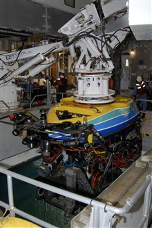 Recovering the remotely operated vehicle (ROV) Tiburon on the WESTERNFLYER.