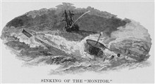 Contemporary woodcut of the MONITOR sinking