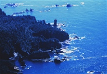 Fuca Pillar at Cape Flattery, the northwest extremity of the Olympic PeninsulaAn aerial view.