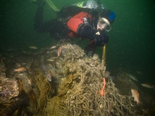 Marine debris on the shipwreck of the coal schooner Paul Palmerincludes recreational fishing line and jigs.
