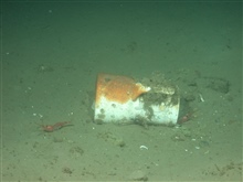 A ceramic pitcher sits on the seafloor next to the Portland's hull