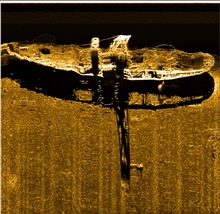 Side scan sonar image of the steamship Portland