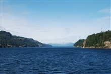Looking up Seymour Narrows, British Columbia.