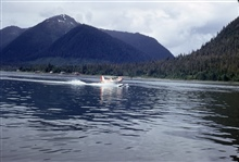 Float plane taking off.  A primary means of transportation in much of Alaska.