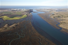 An aerial view of Elkhorn Slough National Estuarine Research Reserve and theMoss Landing power plant.