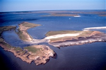 Grand Bay National Estuarine Research Reserve.North showing eroding shoreline from rapidly eroding Rigolets Islands. LSU aerial shoreline survey of October 1998.