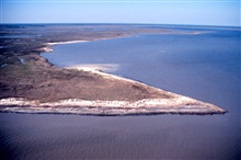 Grand Bay National Estuarine Research Reserve.North from Mississippi Sound, eroding shoreline on Rigolets, Grand Bay to right, Middle Bay in background.  LSU aerial shoreline survey of October 1998.