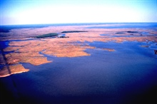 Grand Bay National Estuarine Research Reserve.Northeast over Point aux Chenes Bay showing Crooked Bayou with shell middens,and Middle Bay in background.  LSU aerial shoreline survey of October 1998.