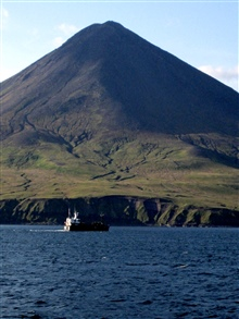 A conical volcano on Atka Island.
